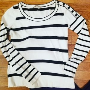 Ann Taylor Loft black and white striped sweater
